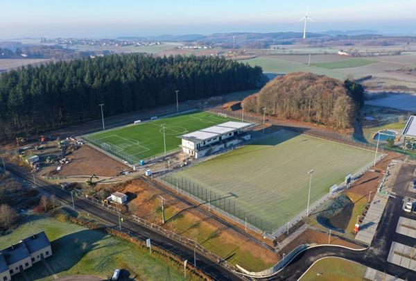 Two new football pitches and large canteen building