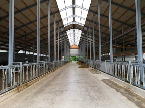 Dairy farm building with a total length of 82 m